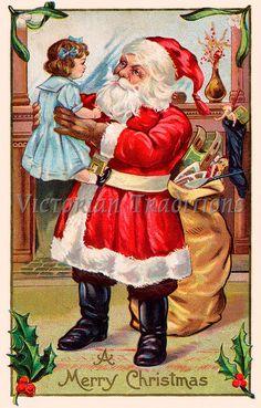 vintage santa claus painting  | Vintage Christmas clip art - Santa Claus greets a child while making ...