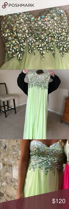 Prom/Pageant Dress Dave & Johnny prom dress. Only worn once. Perfect condition. No stains. Perfect tinker bell color, photographs beautifully, beading is exquisite. dave & johnny Dresses Prom