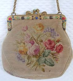 Antique Petite Point Tapestry Purse