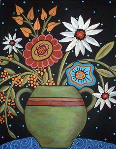 Daisy Folk Art Flower Vase Karla Gerard by KarlaGerardFolkArt