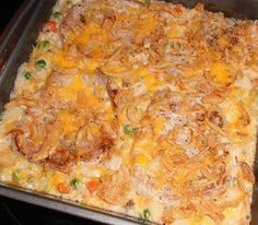Ingredients: 4 boneless pork chops 2 C. can cream of mushroom soup 1 C. frozen peas and carrots, thawed C. milk C. French Fried Onions C. grated cheddar cheese pinch of salt my house seasoning mix Pork Chop Casserole, Casserole Dishes, Casserole Recipes, Taco Casserole, Pork Chop Recipes, Meat Recipes, Cooking Recipes, Dinner Recipes, Pork
