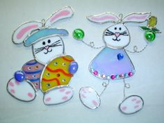 Easter Bunniesset of these two by rdjglass4u on Etsy, $19.99
