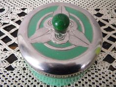 Antique Art Deco Green Metal Powder Canister by violet64 on Etsy, $24.00