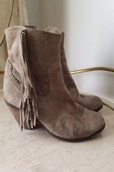 bf68e465d471fe Sam Edelman Booties Rudie Fringe Ankle Boots Grey Putty Suede 7 7.5 ...