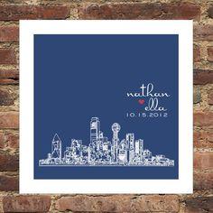 Valentines Day Gift City Skyline Custom FRAMED by DefineDesign11, $39.00