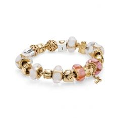 Bracelets et Colliers-Bracelet Charms Pandora En Or-Rose Et Blanc