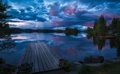 Herunterladen hintergrundbild ringerike, brücke, dunkelheit, see, norwegen