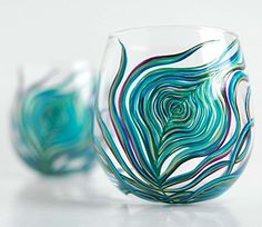 Peacock Feather Wine Glasses - Set of 2 Hand Painted Stemless Glasses ** See this great product.
