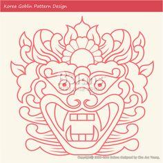 한국의 도깨비 문양 패턴디자인. 한국 전통문양 패턴 디자인 시리즈. (BPTD010029) Korea Goblin Pattern Design. Korean traditional Design Series. Copyrightⓒ2000-2014 Boians.com designed by Cho Joo Young.