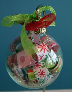 Christmas ornament to use up leftover scrapbook paper