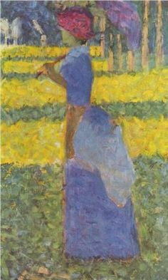 Woman with Umbrella : Georges Seurat : Post Impressionism : genre painting - Oil Painting Reproductions Georges Seurat, Claude Monet, Seurat Paintings, Shape Art, Oil Painting Reproductions, Art Moderne, French Art, Art History, Modern Art