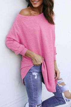 Poppoly Casual Long Sleeves Pink T-shirt pretty in pink, comfortable, #boho top long and loose #afflink