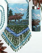 Moose in Pond by Joan L. Hurlbut.  Joan owns Pristine's, a fully stocked bead store in Fairbanks Alaska. This is a pattern from her book; Beaded Alive: A Natural Beginning. The Bag and the Bic lighter cover are stitched with Miyuki Delica beads – bead colors and bead counts can be found on the full color chart.