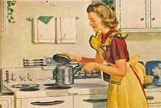Your refrigerator will be covered with vintage sweetness with this adorable print of a woman cooking over her stove. Retro Humor, Vintage Humor, Vintage Ads, Vintage Prints, Retro Funny, Vintage Posters, Vintage Housewife, Housewife Humor, 50s Housewife