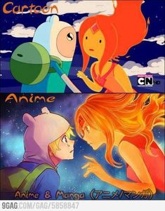 difference The difference between cartoon and anime. anime is betterThe difference between cartoon and anime. anime is better Anime Vs Cartoon, Cartoon Shows, Anime Shows, Cartoon Art, Anime Manga, Time Cartoon, Marceline, Art Adventure Time, Image Fairy Tail