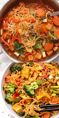 These healthy and vegan Red Curry Noodle Bowls are flavorful, saucy and super easy to make! Served with vegetables, crispy tofu, and gluten-free noodles, making for the perfect easy vegetarian dinner recipe! dinner on a budget Red Curry Noodle Bowls Vegetarian Recipes Dinner, Vegan Dinners, Veggie Recipes, Beef Recipes, Dinner Healthy, Cooking Recipes, Vegan Vegetarian, Vegan Ramen, Vegan Curry