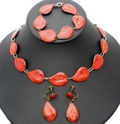 Vintage Enamel Set Necklace Bracelet Earrings 3 PC Leaf Parure Autumn Orange | eBay