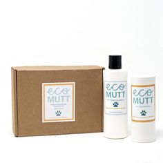 Eco Mutt shampoo duo gift box: Rosemary, Lavender & Mandarin Perfect gift for the pooch in your life! Contains 1 bottle of Eco Mutt shea butter liquid shampoo and one shaker of Eco Mutt Dry powder shampoo scented with Rosemary, Lavander & Mandarin essential oils. Presented in a kraft gift box Mutt Dog, Kraft Gift Boxes, Dog Shampoo, Printed Ribbon, Lavander, Vegan Friendly, Shea Butter, Essential Oils, Powder
