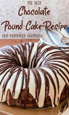 This chocolate pound cake recipe is rich and moist. An old fashioned pound cake you will want to make again and again, especially if you're a chocolate lover! A great homemade cake to serve a crowd. this southern pound cake is a hit. #chocolatepoundcake #homemadepoundcake #chocolate #poundcake #pastrychefonline Easy No Bake Desserts, Best Dessert Recipes, Fun Desserts, Sweet Recipes, Scone Recipes, Delicious Desserts, Homemade Pound Cake, Pound Cake Recipes, Homemade Cakes