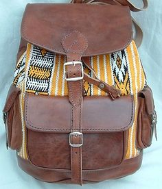 Vintage Real Leather Bag Rucksack Backpack Boho Aztec Chic A4 Many Patterns | eBay