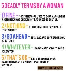 5 Deadly terms used by a woman. :-D
