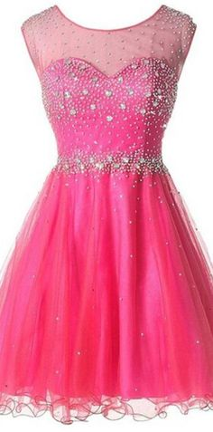 1fdff9a678 Hot Pink Tulle High Neck Backless Homecoming Dresses