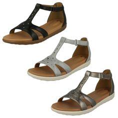 01159acfbc6 Ladies clarks unstructured leather open toe riptape sandals shoes un reisel  mara