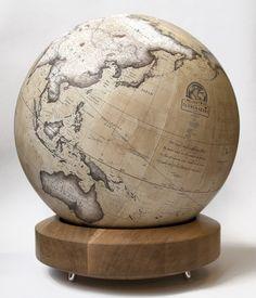 Bellerby & Co Albion Desk Globe in Ochre : Modern Globemakers Desk Globe, Map Globe, Floor Globe, World Globes, Ceramic Birds, Luxury Interior Design, Cartography, Wood Carving, Eye Candy