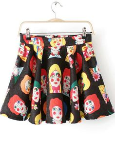 Black Cartoon Portraits Print Skirt US$22.80