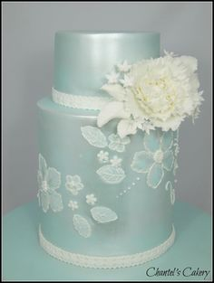 Beautiful mint colored cake with white lace
