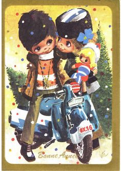 Sweet Couple in Love, Vintage Postcard of a Big Eyed Boy and Girl, via Flickr.