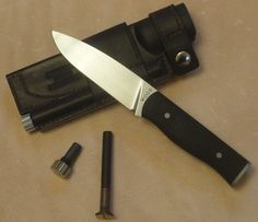 Full tapered tang hollow handle survival/utility knife with blade. Steel: Hardness: 60 Rockwell C Scales: Sand blasted black with red liners Overall: Blade: Bushcraft Knives, Utility Knife, Survival Knife, Bowie