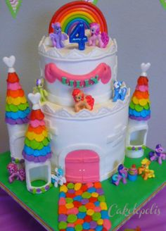 My Little Pony Rainbow Castle Cake - This was a 8 six layer rainbow cake and a 6 chocolate cake.