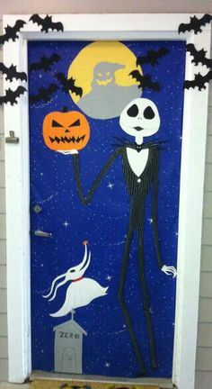 nightmare before christmas classroom door decoration diy - Creative Halloween Door Decorations