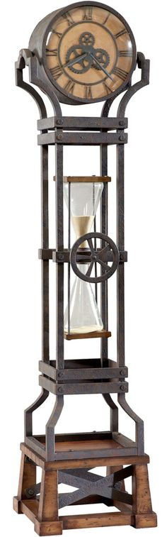 The Howard Miller Hourglass Floor Clock boasts a versatile, fashion-forward design that will complement a variety of decor styles - even Steampunk. Features a hourglass in the middle of the case and a large dial with embossed gears. Globes Terrestres, Kitchen Timer, Howard Miller, Sand Timers, Cool Clocks, Vintage Industrial Decor, Antique Clocks, Antique Stores, Rustic Industrial