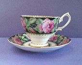 "Vintage  Royal Albert Crown China England ""Needle Point"" Reg. No. 829286 Teacup  Set"