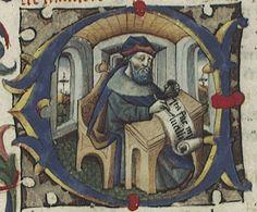 """Tratados varios. BNE RES/7, S. XV. Contiene las Epístolas (h. 1-134) y el diálogo moral De Providentia (h. 135-138v).  Se trata de un manuscrito humanístico itálico, perteneciente en origen a la biblioteca personal de Iñigo López de Mendoza, Marqués de Santillana. Señalamos que, en la h. 7, figura una bella inicial """"C"""" -que contiene a Séneca en su escritorio- y una orla vegetal con sendos ángeles sosteniendo el escudo cuartelado en sotuer de los Mendoza."""