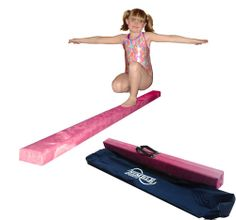 8ft Pink Folding Balance Beam. The beam is 8 feet long, the top is 4 inches wide and 3 inches high. Made with 3/4 laminated wood. The padding is 3/8 closed cell foam. All beams are wrapped with a commercial grade synthetic suede. The Folding beam will fold into a 4ft length for transport or storage. Carrying bag included. Nimble Sports guarantees everything sold with a 1 year warranty.