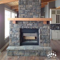 Southern Hackett (Color: Almond Buff) #fireplace from  Creative Stone in #Calgary #Alberta #yyc www.KodiakMountain.com #stoneveneer #design #howto #kodiakmountainstone #CreativeStone
