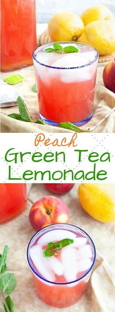 This refreshing and sweet homemade peach green tea lemonade is made with real peaches and freshly squeezed lemon juice. The perfect fruity drink! Peach Green Tea Lemonade, Green Tea Drinks, Green Tea Smoothie, Tea Smoothies, Fruity Drinks, Summer Drinks, Healthy Smoothies, Healthy Drinks, Smoothie Detox