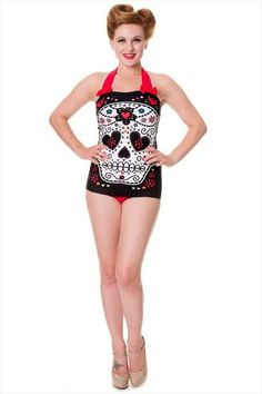 0f602275609e4 Banned Black Sugar Skull Swimsuit - Official banned swimsuit for fans of  the alternative fashion is