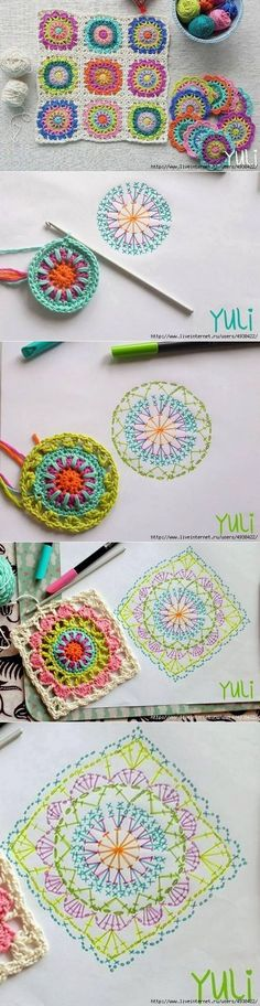 Starburst granny square is a beautiful project and a lot of people would love to know how to crochet one. Crochet Squares, Crochet Blocks, Granny Square Crochet Pattern, Crochet Diagram, Crochet Chart, Crochet Stitches, Crochet Patterns, Granny Squares, Crochet Granny