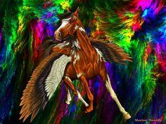 Samril Shyford's renkana, Devid Horse Fly, Unicorn Horse, Fairytale Creatures, Mythical Creatures, Fantasy Life, Fantasy Art, Fractal Images, Winged Horse, Horse Drawings