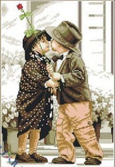 First Kiss Counted Cross Stitch Kit