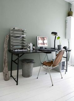 I like this color for my black and white office!