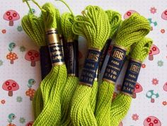 Lime floss on etsy http://www.etsy.com/listing/60298706/10-skeins-lime-green-cotton-craft-thread