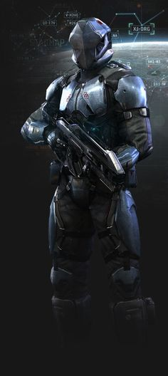 Dust 514 - futuristic armored sci-fi soldier