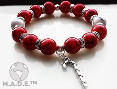 This piece is inspired by the Kappa Alpha Psi Fraternity colors (Crimson and cream). The bracelet also features a charm of a cane which is something the fraternity is known for. Kappa Alpha Psi Fraternity, Fraternity Collection, Beaded Jewelry, Beaded Bracelets, Mad Hatter Hats, Kentucky Derby Hats, Stone Bracelet, Victorian Fashion, Hats For Women