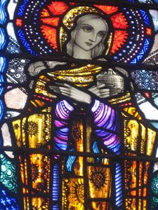 Harry Clarke's Magdalene window at the Chapel of Saint John and Immaculate Mary on Inis Meáin, County Galway Stained Glass Church, Stained Glass Paint, Stained Glass Windows, Mosaic Glass, Glass Art, Alabaster Jar, Santa Maria, Harry Clarke, St Joan