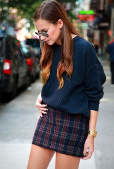 @roressclothes closet ideas #women fashion outfit #clothing style apparel Oversized Sweater and Mini Skirt